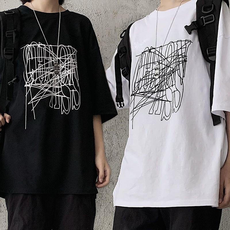 ユニセックス Tシャツ 半袖 メンズ レディース ラウンドネック 英字 グラフィティプリント オーバーサイズ 大きいサイズ ルーズ ストリート