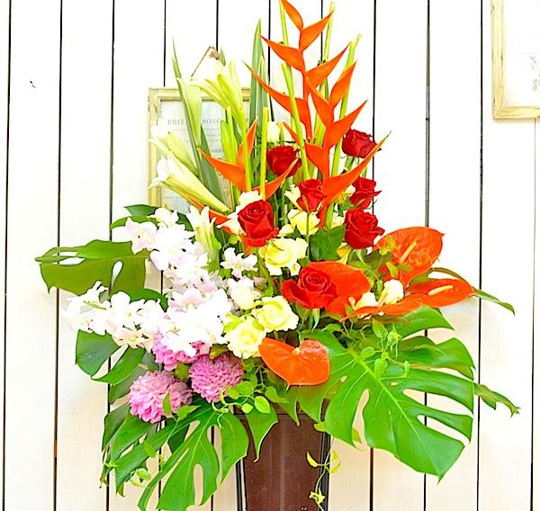 南国風開店お祝いスタンド花