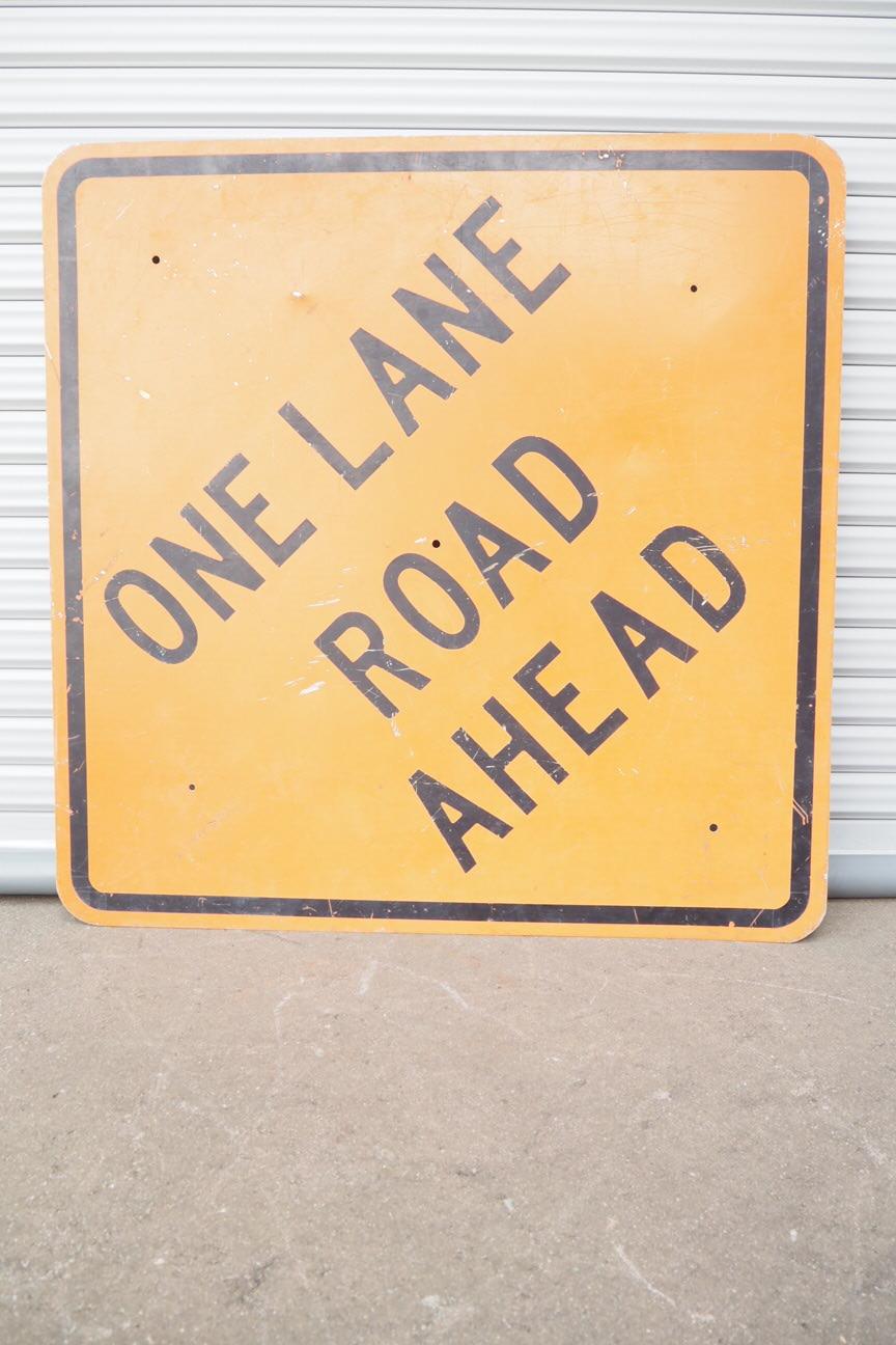 品番1175 ONE LANE ROAD AHEAD 道路看板 011