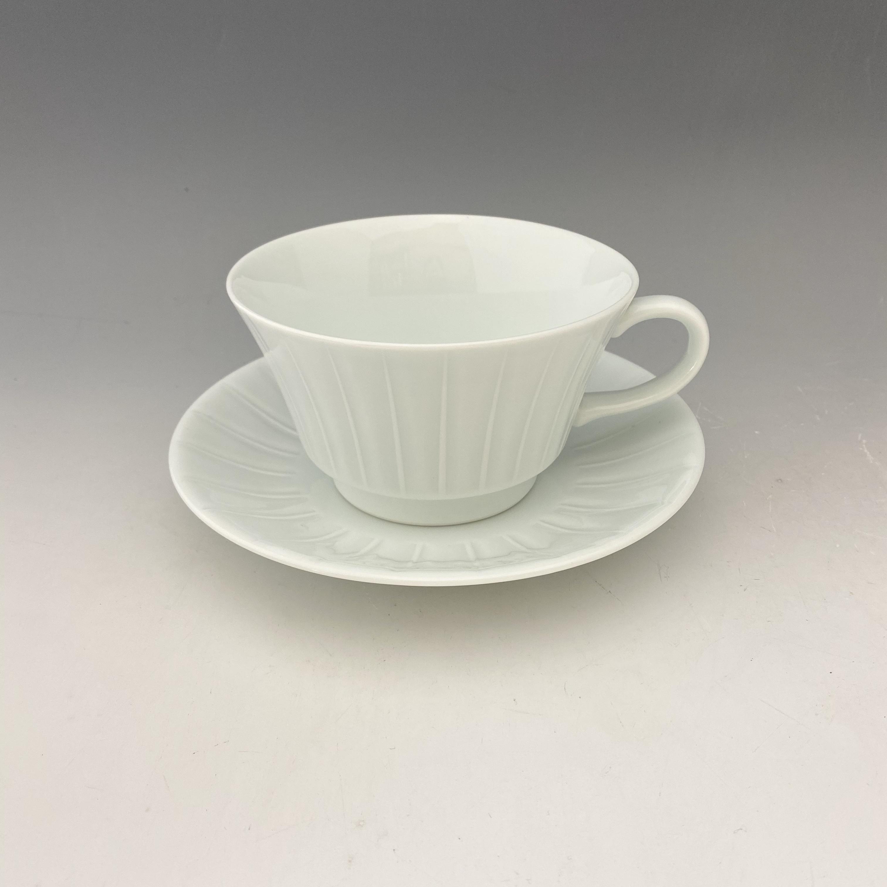 【中尾恭純】白磁線彫スープ碗皿