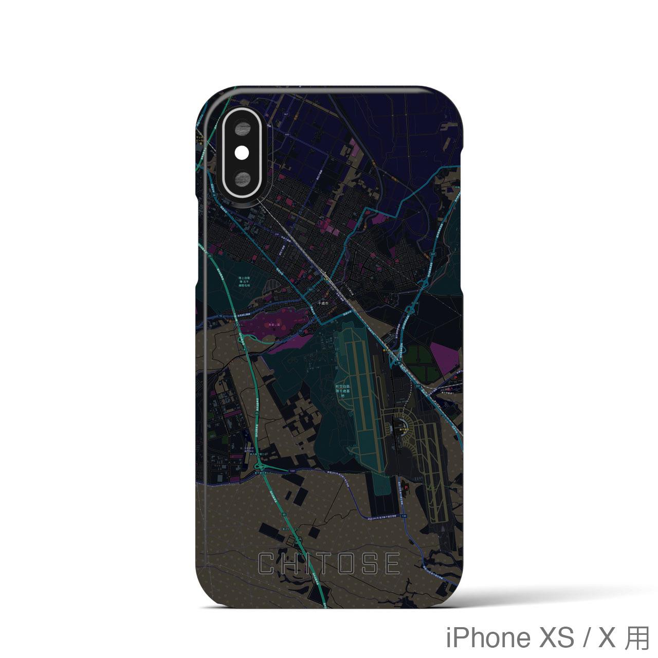 【千歳】地図柄iPhoneケース(バックカバータイプ・ブラック)