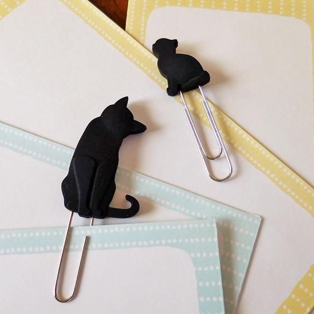 (128) キャットペーパークリップ 6ポーズ 黒猫モチーフ 文具 【レターパックライト可】