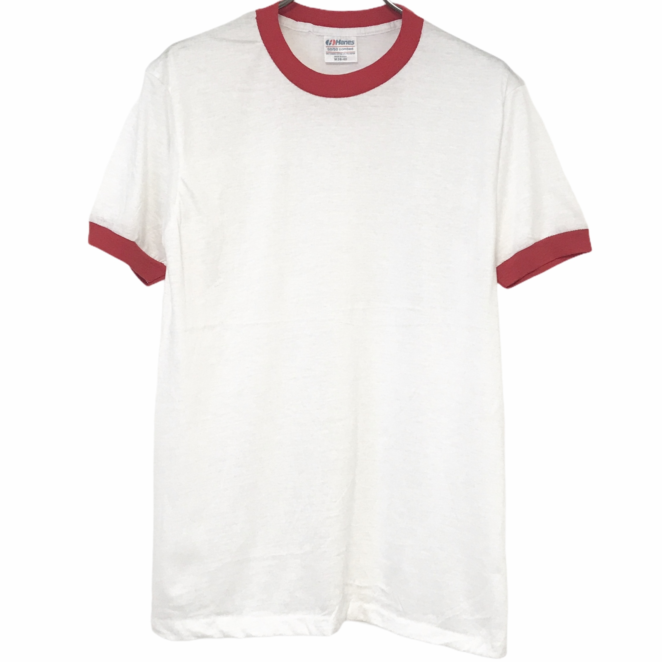 Dead Stock! 80's Hanes Ringer T-shirt made in USA Red