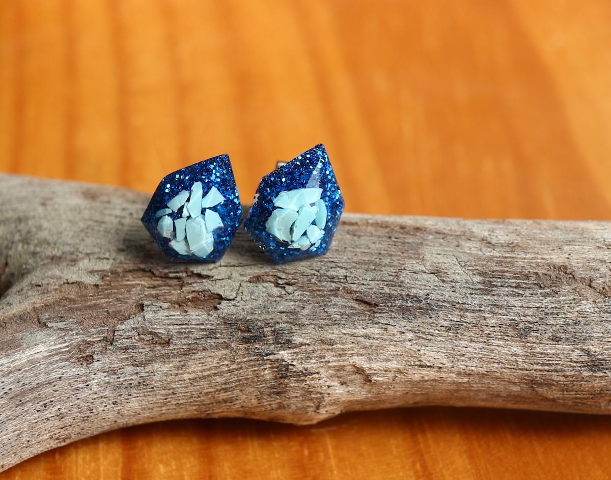 アメリカターコイズ原石♦︎ 1粒ピアス/イヤリング ブルー