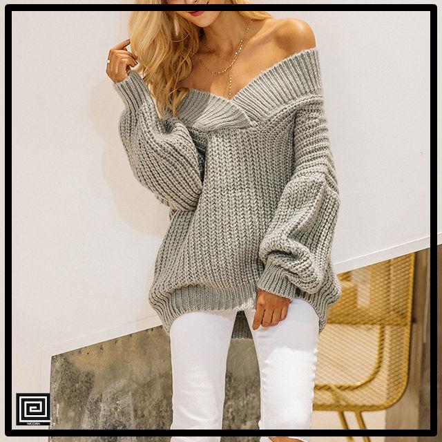 Vネックオフショルダーニットセーター