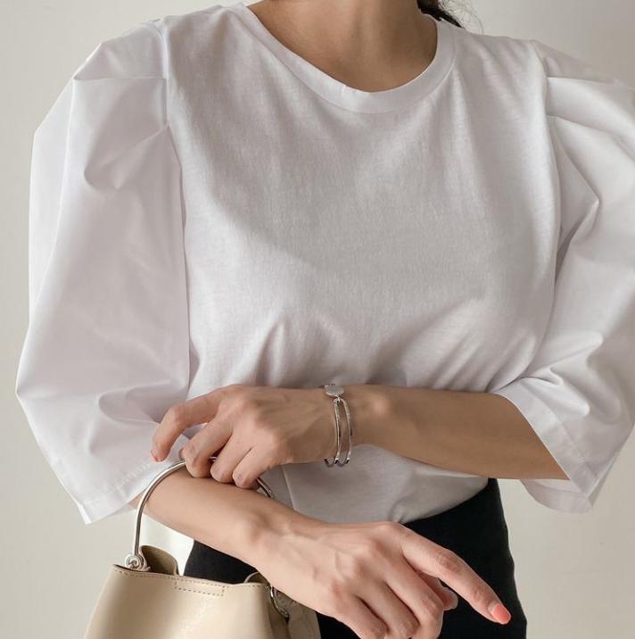 【送料無料】ボリュームスリーブ ♡ きれいめ フェミニン シンプル 無地 ボリューム袖 パフスリーブ ブラウス Tシャツ プルオーバー トップス