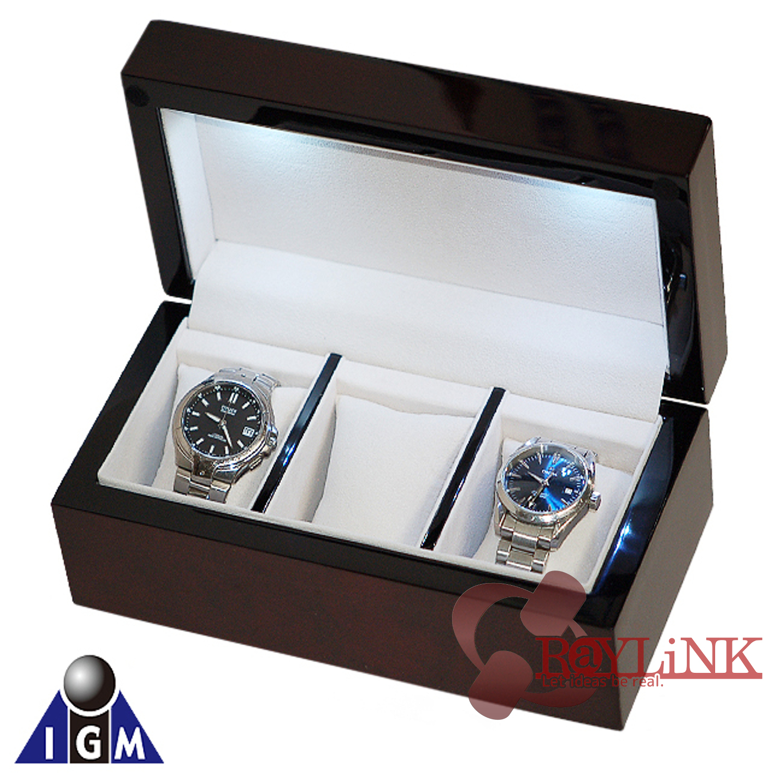 IGIMI LED付 時計3本収納ボックス ソーラー時計の収納・充電に!