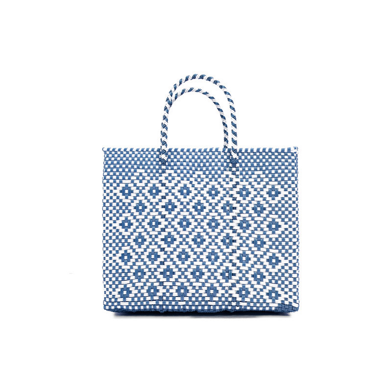 MERCADO BAG ROMBO METALIC - Metalic Blue x White(XS)