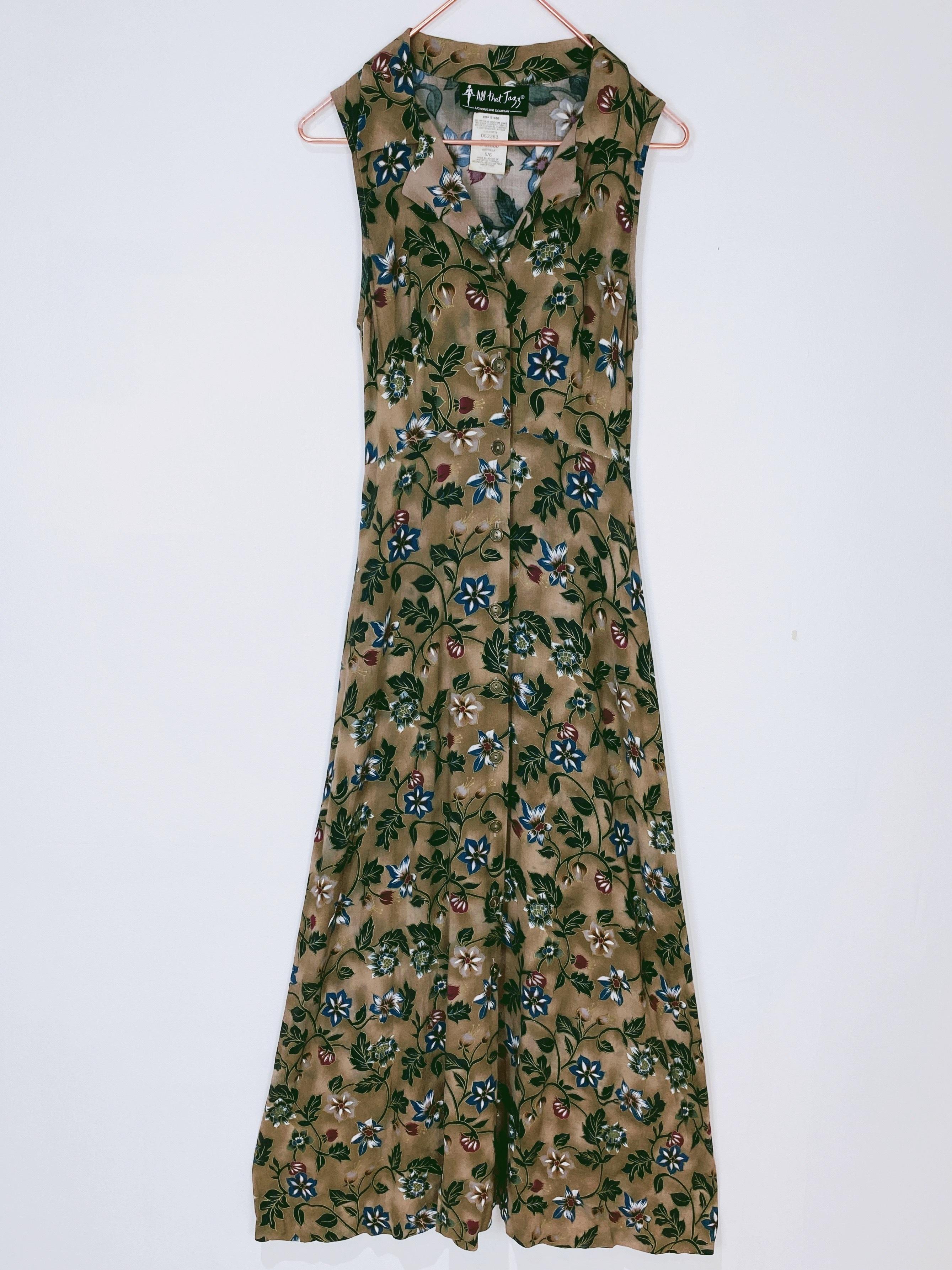 ◼︎90s oriental flower rayon maxi dress from U.S.A◼︎