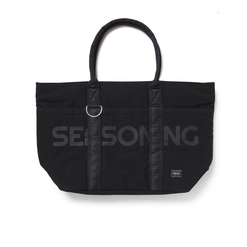 SEASONING×PORTER TOTE BAG ONLINE LIMITED MODEL- BLACK×BLACK