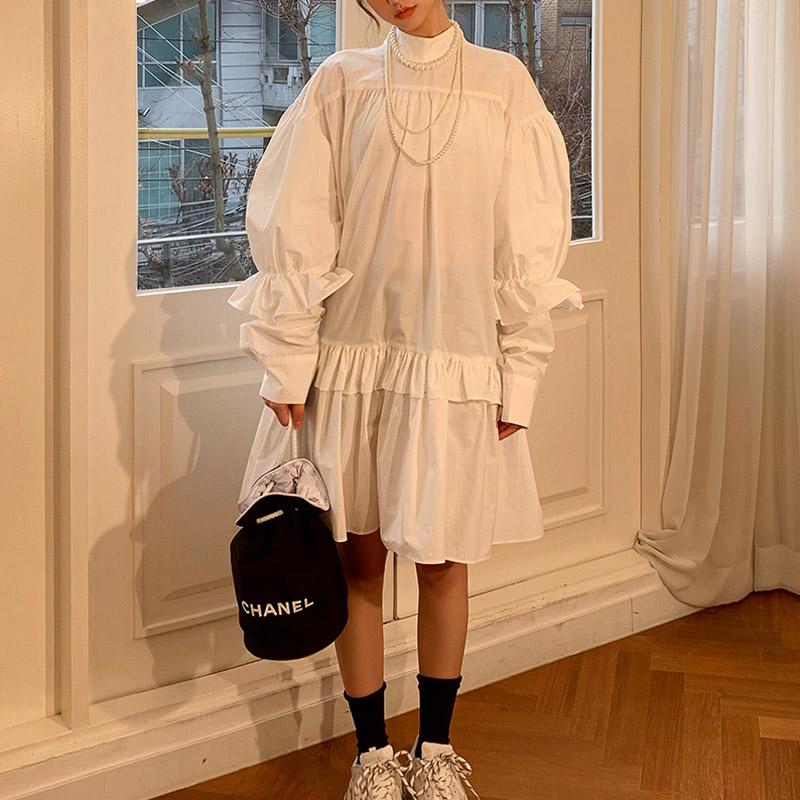ホワイトソリッドスタンドカラードレス