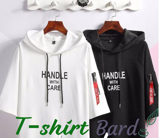 Tシャツ メンズ ファション 2019夏 Tシャツパーカー かっこいい 4色 トップス カジュアル お洒落 フード付き ウェア 半袖