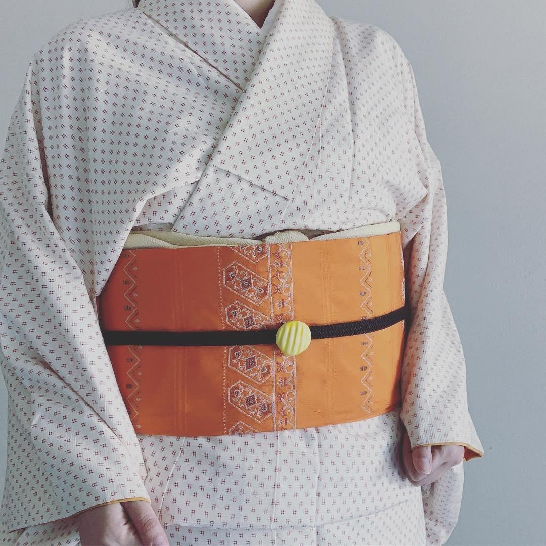 スジ丸帯留め(レモン色)