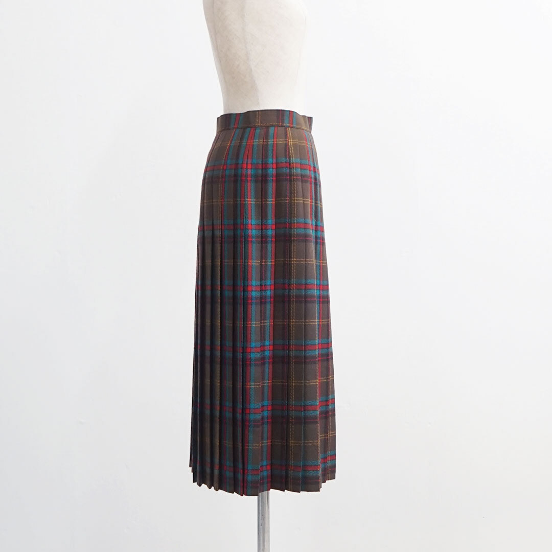 USED 古着 スカート BROWN×KHAKIチェック (品番used-030)