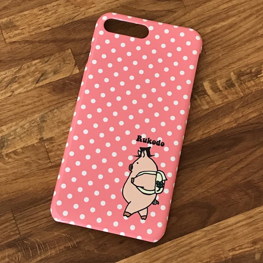 iPhone(Plusシリーズ)ケース 旅するぶたさん(ピンクドット)