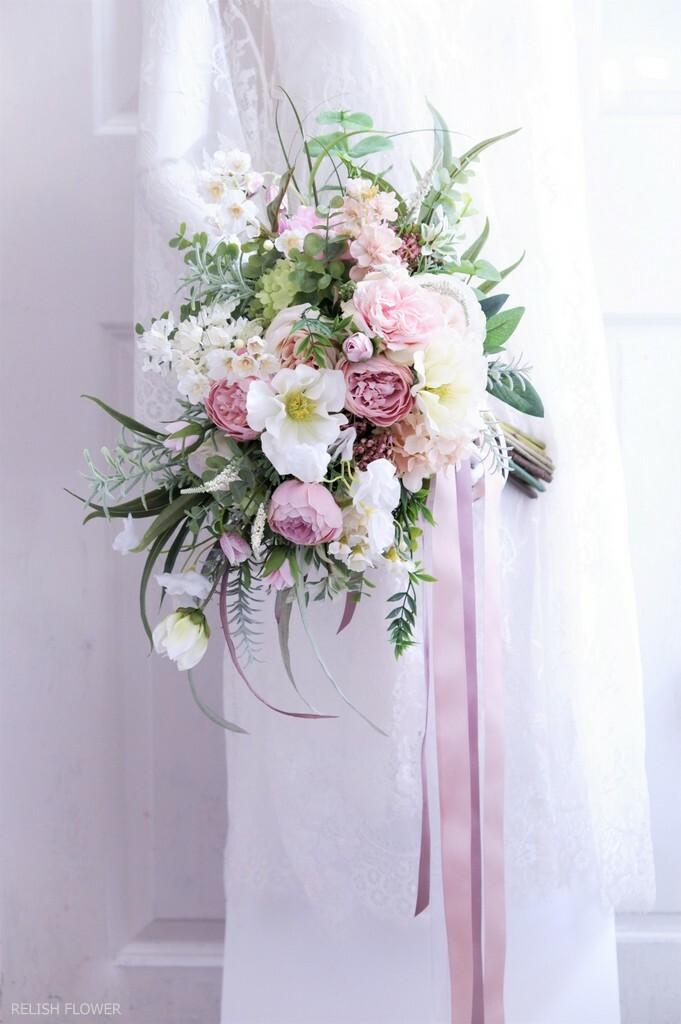 【 オーダーメイド・Fタイプ 】クラッチブーケ ・フリースタイル 。アーティフィシャルフラワー造花のウェディングブーケ