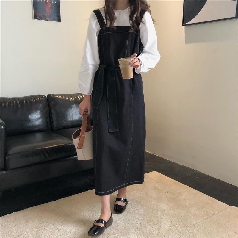 【送料無料】モノトーンコーデ ♡ 2点セット セットアップ シンプル カットソー シャツ × ジャンパースカート ワンピース