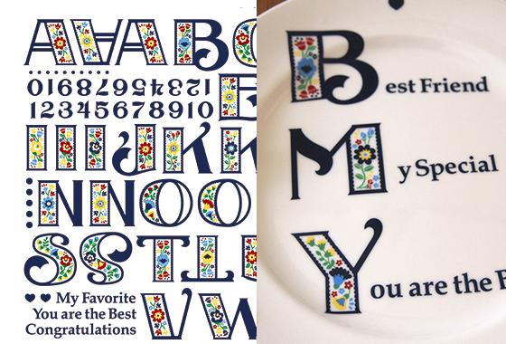 チロリアンアルファベット  A3サイズ  (ポーセリンアート用転写紙)