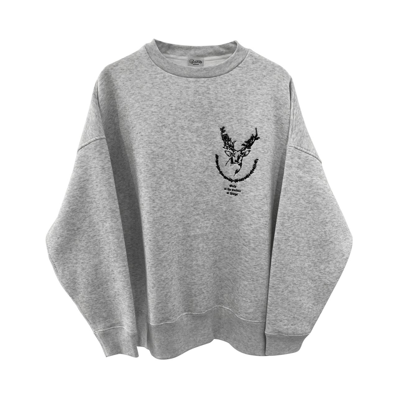 9___89 Deer embroidery sweat Ash x Black