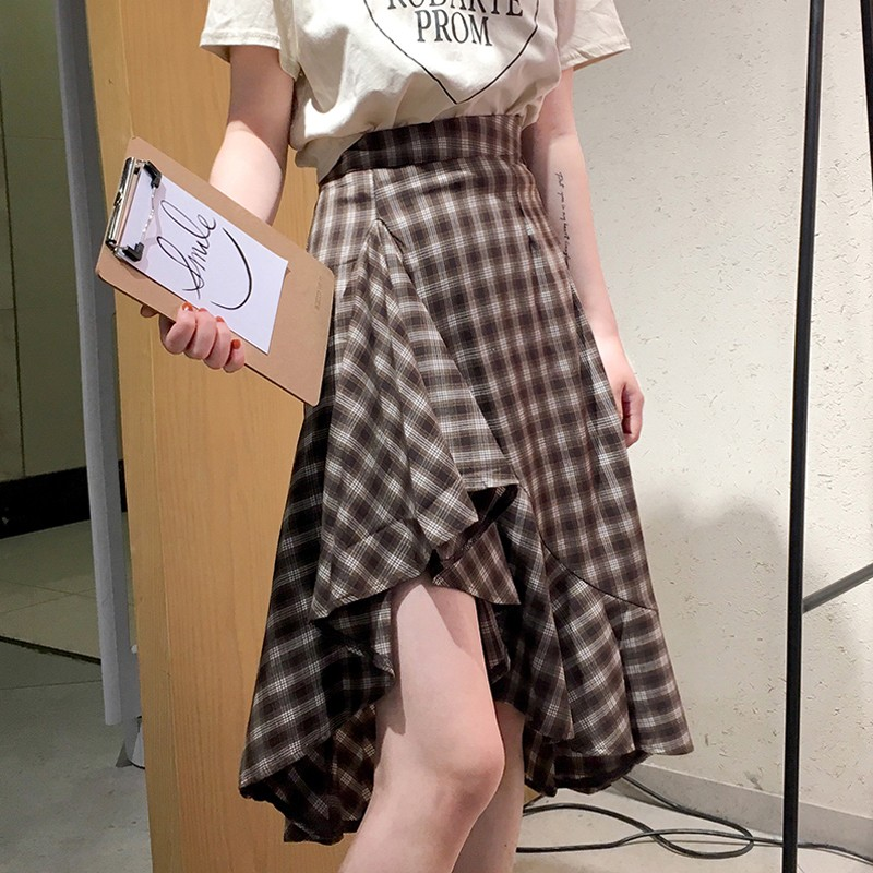 【bottoms】チェック柄カジュアルハイウエストAラインスカート13679136