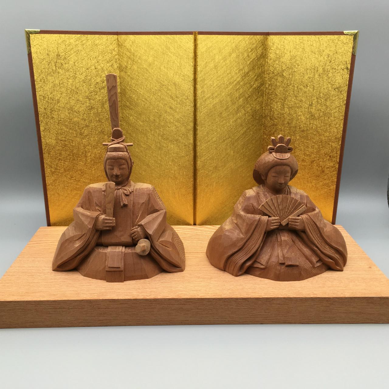 木彫り雛人形 親王飾り