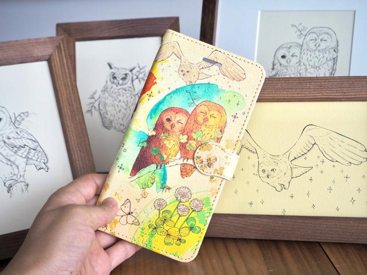送料無料■フクロウたちと絵本の森のスマホケース《受注生産:iPhone,Android対応》