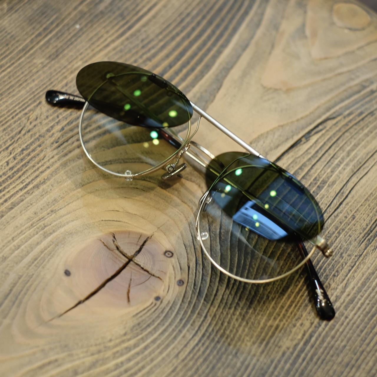 1sin×金子眼鏡 innovatorⅤ クリップオンサングラス・眼鏡 シャンパンゴールドフレーム×グリーンレンズ