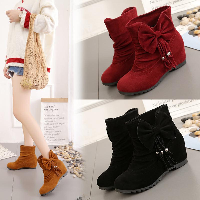 インヒール5cm/ スエード調おおきなリボン&フリンジビーズ付 /ショート丈くしゅっとブーツ boots008