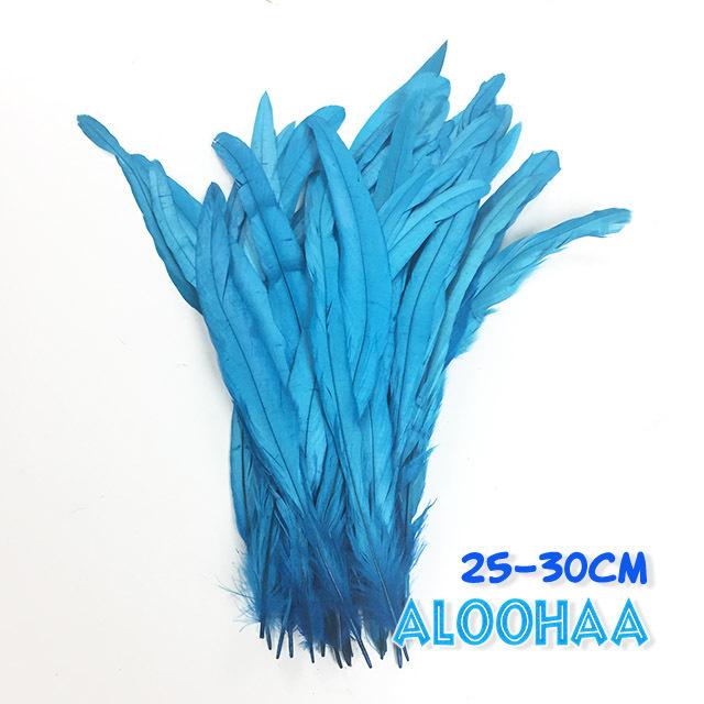 単色ロングフェザー 【ターコイズ】25~30cm 10本 DIY 羽 衣装材料 タヒチアン