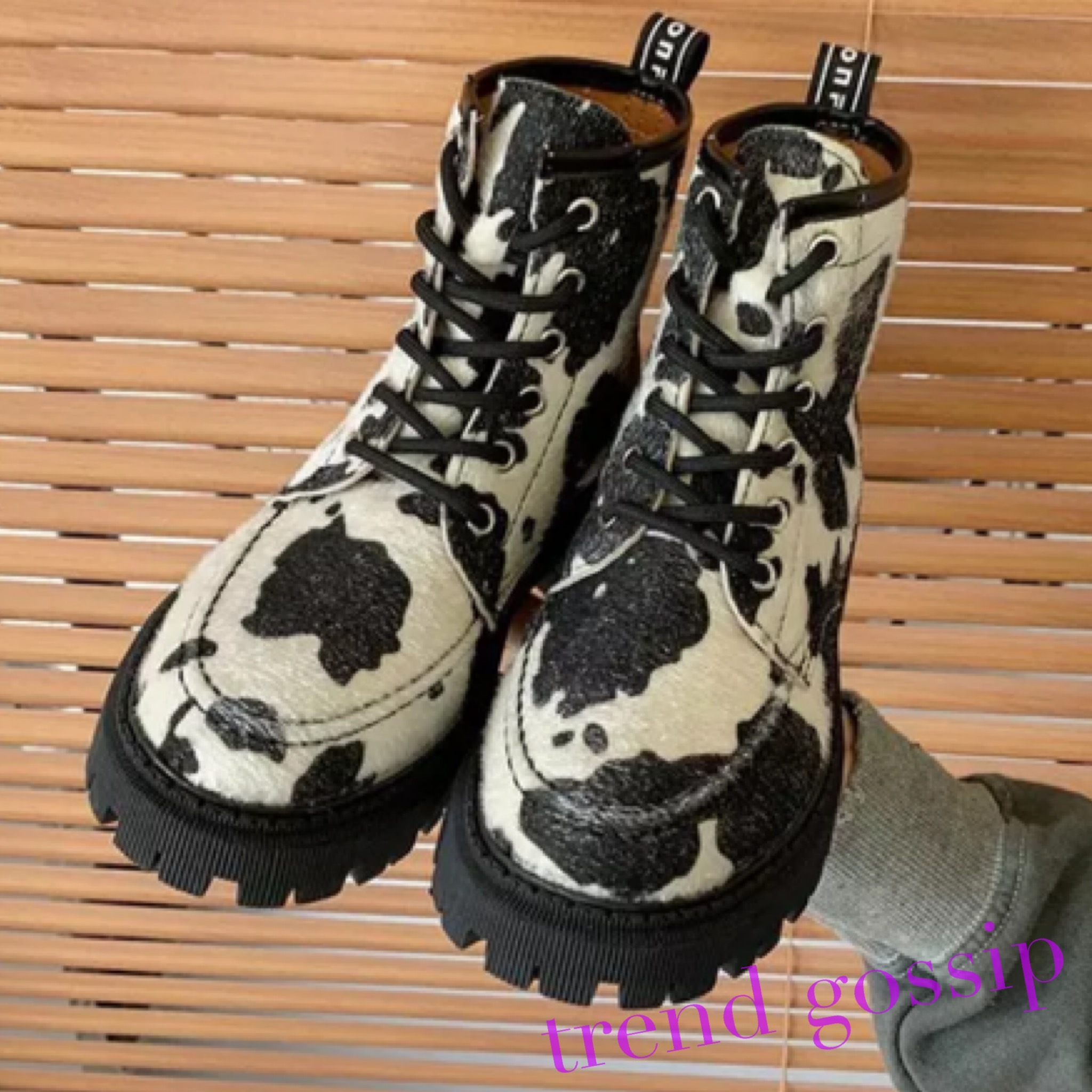 カウ柄レースアップワークブーツ/靴/22〜24.5cm/2020AW