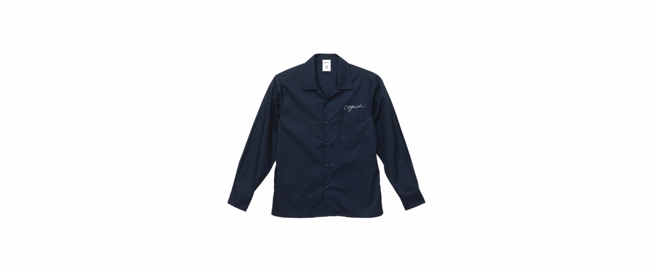 coguchi open collar shirt (NVY/WH)