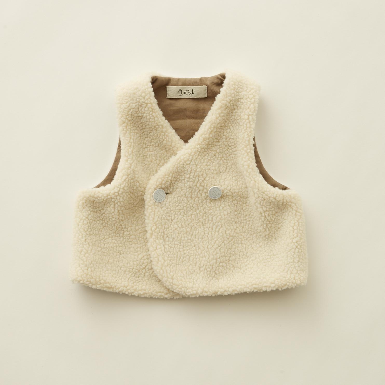 《eLfinFolk 2020AW》sheep boa  baby vest / ivory