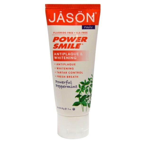 フッ素不使用☆100%植物成分合成保存料不使用歯磨き粉 パワースマイル(POWER SMILE)3オンス (85 g)Jason Natural