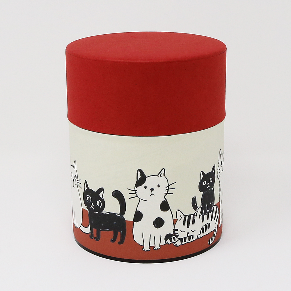 猫お茶缶(ぷっくり)ねこねこ