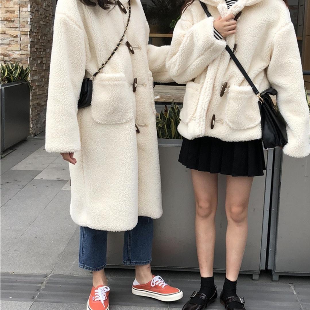 〈カフェシリーズ〉丈が選べる!もこもこガーリーコート(ロング丈)【moko-moko girly coat】