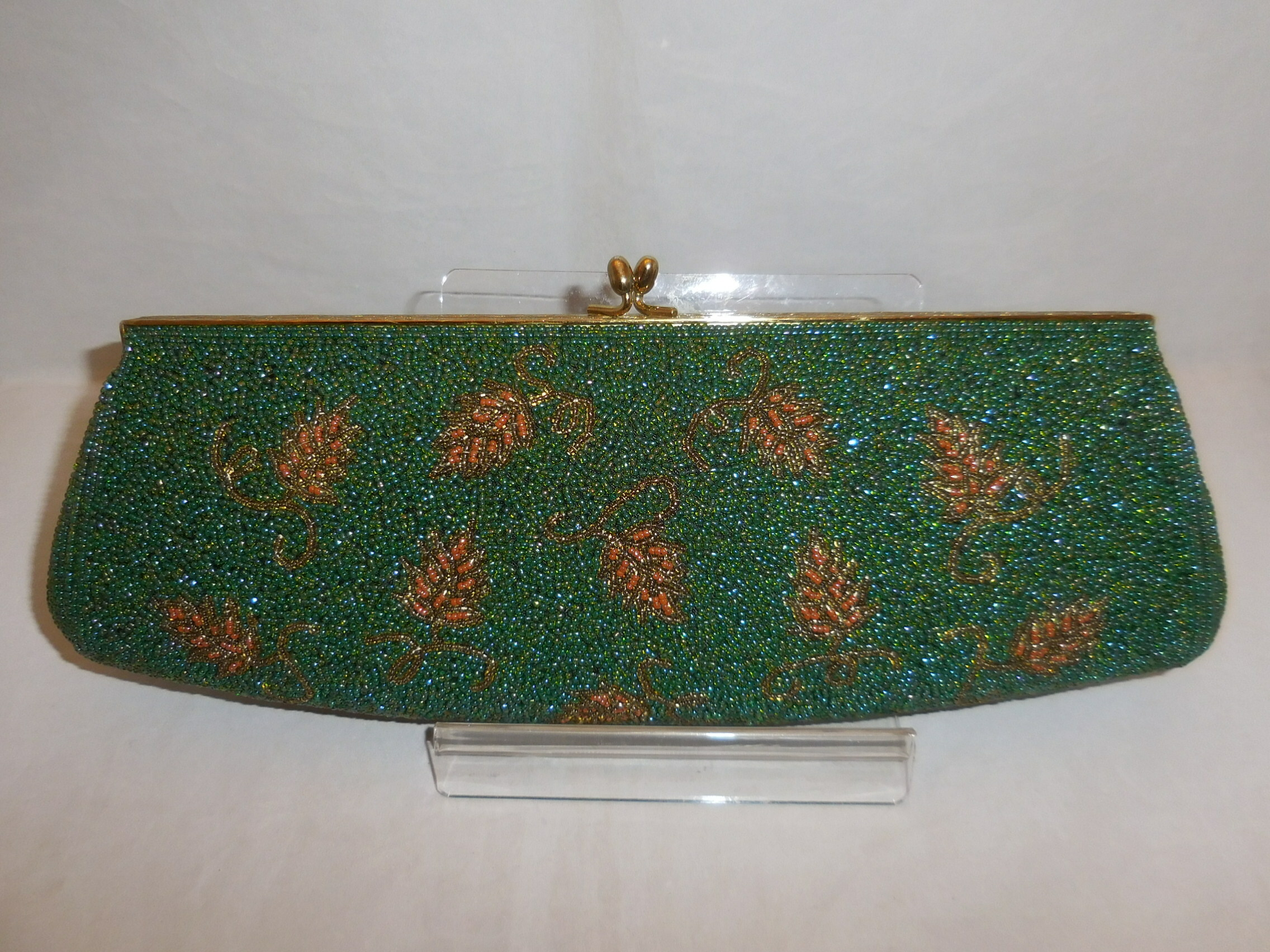 緑ビーズビンティージバック green color bead vintage bag (made in Japan)(No62)