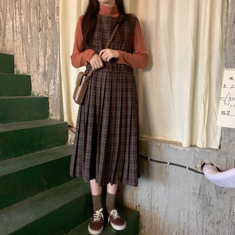 【送料無料】秋っぽ ワンピ ♡ チェック柄 プリーツ レトロ スクール ガーリー ノースリーブ ロング ワンピース