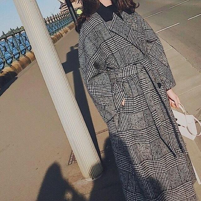 秋冬 新作 ロング コート チェック 格子柄 ウール シック ゆったり オフィス 通勤 女子会  デート