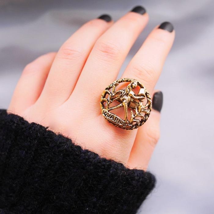 12星座 水瓶座(アクエリアス)70s ヴィンテージリング(指輪)フリーサイズ Vintage Ring Zodiac