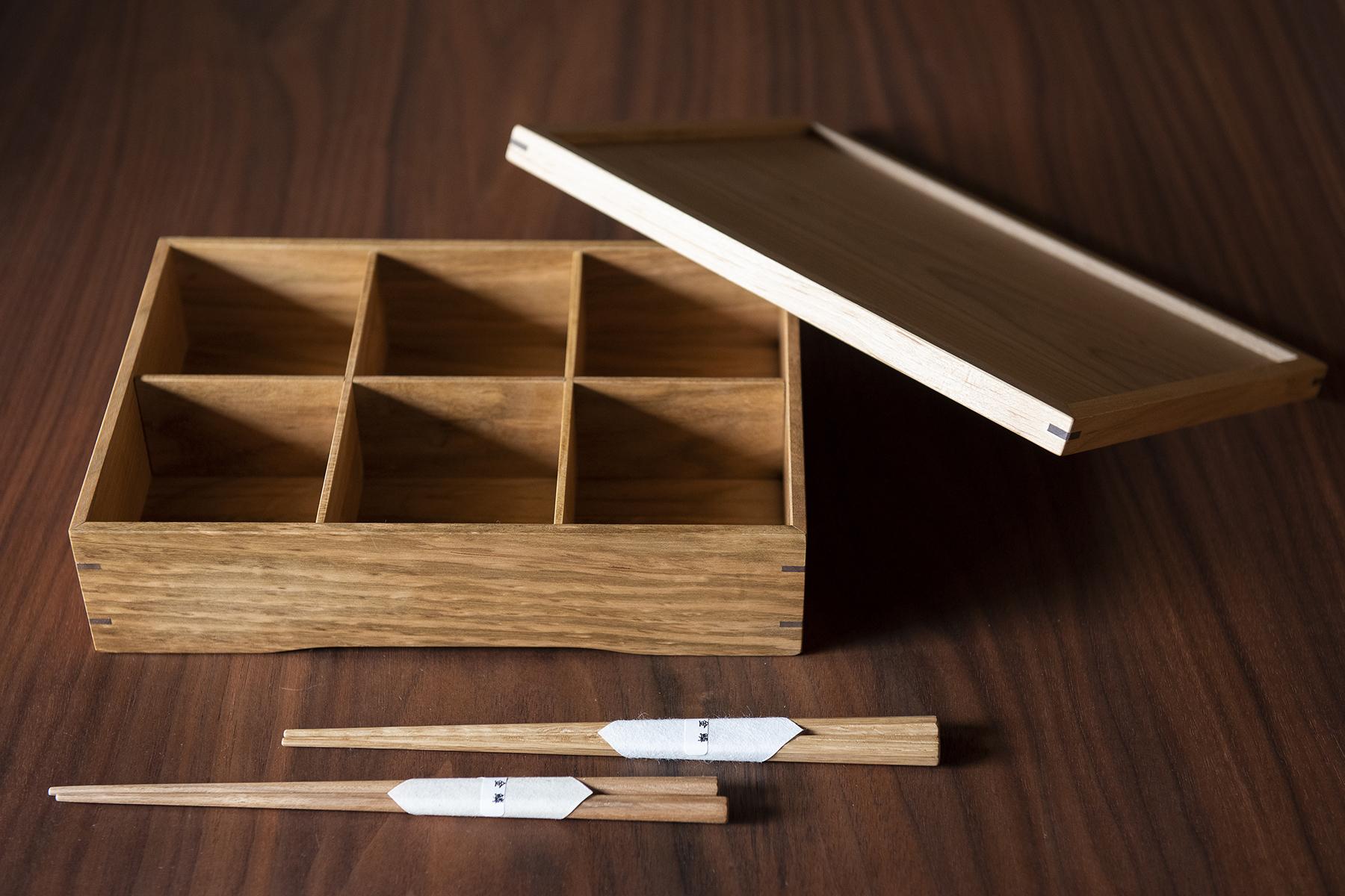 手作り家具の金鱗 / 桜のお弁当箱・銘木膳(お箸2膳付き)
