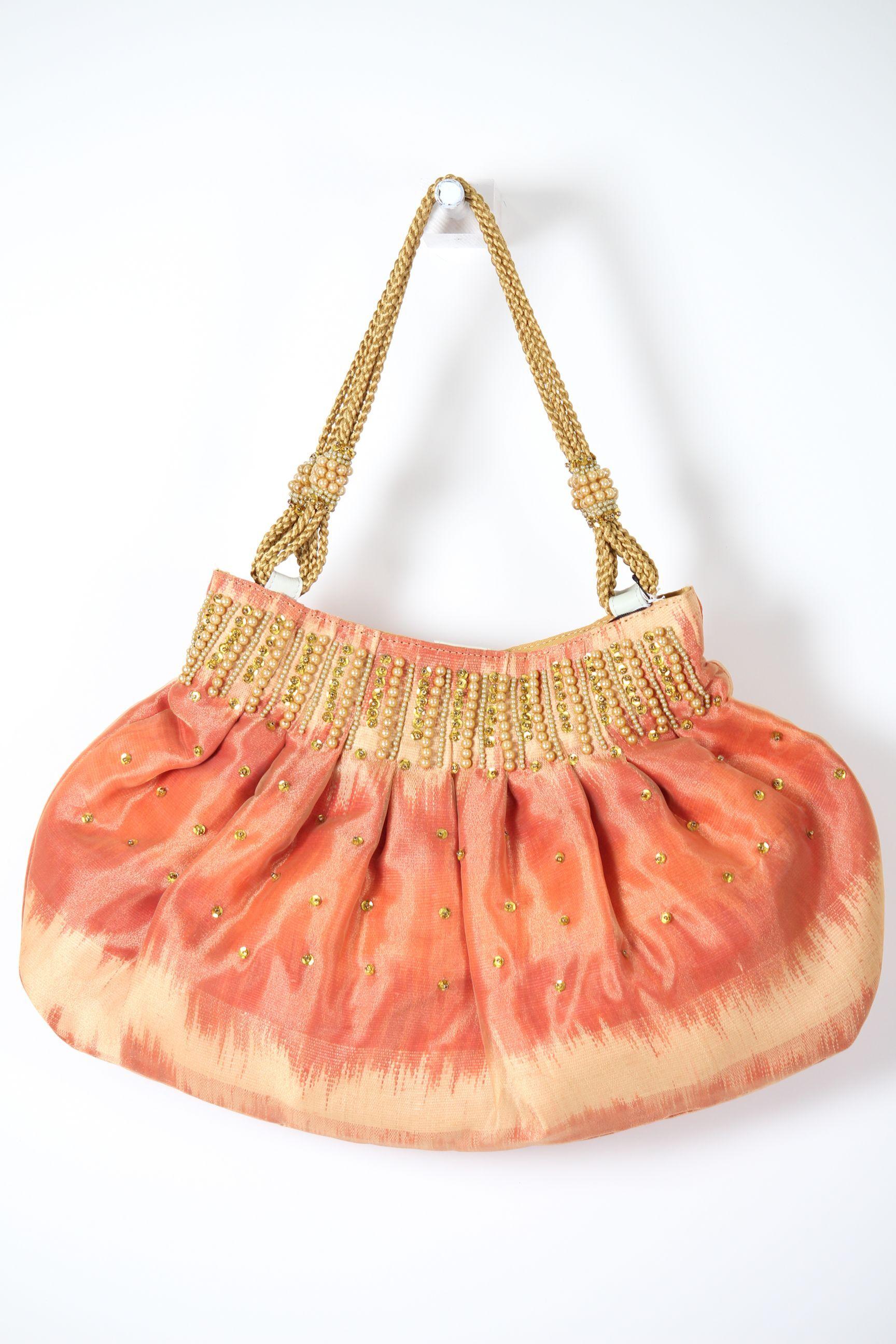 オレンジビーズ刺繍バッグ