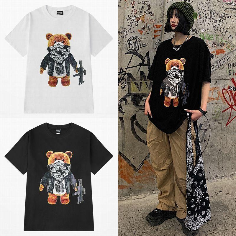 ユニセックス 半袖 Tシャツ メンズ レディース 機関銃 ギャング クマちゃん プリント オーバーサイズ 大きいサイズ ルーズ ストリート