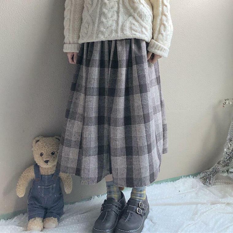 【送料無料】ガーリーな チェック柄 ♡ レトロ フレア Aライン ロング スカート ボトム