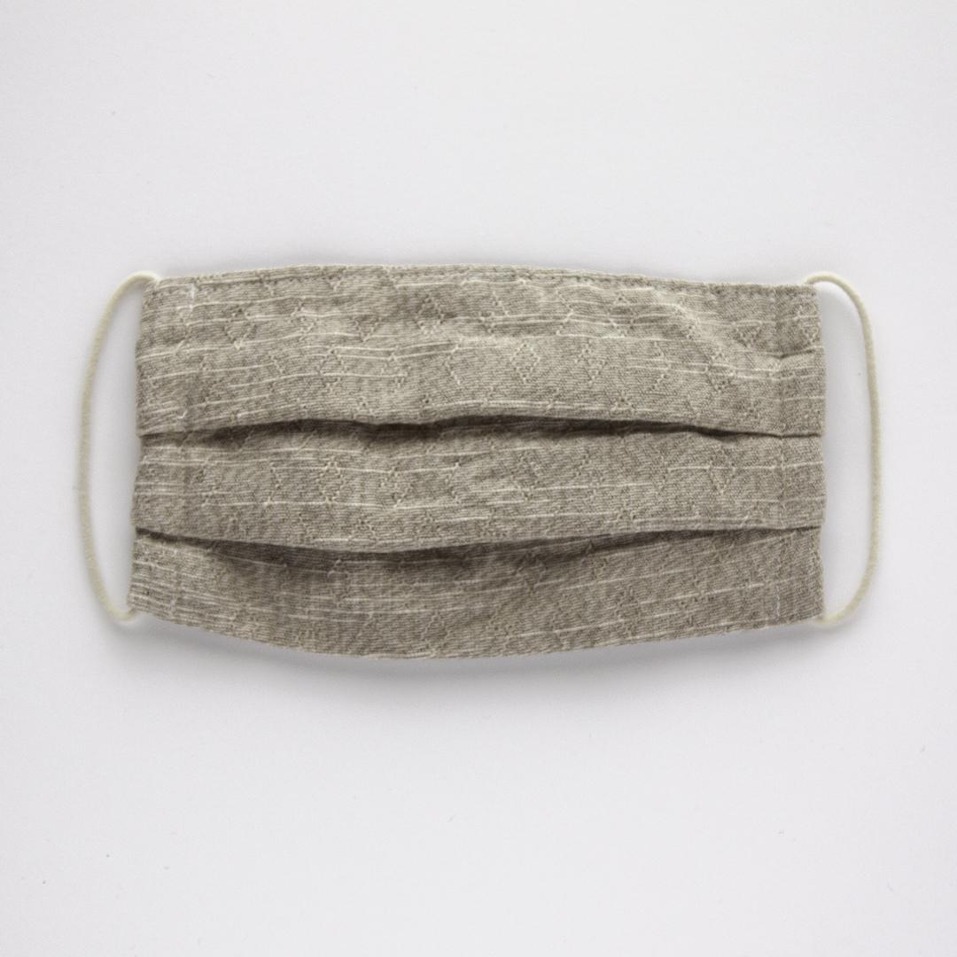 サラッとして蒸れにくい「綿麻素材の布マスク」たっぷりサイズのプリーツ仕立て [色:サンドベージュ]