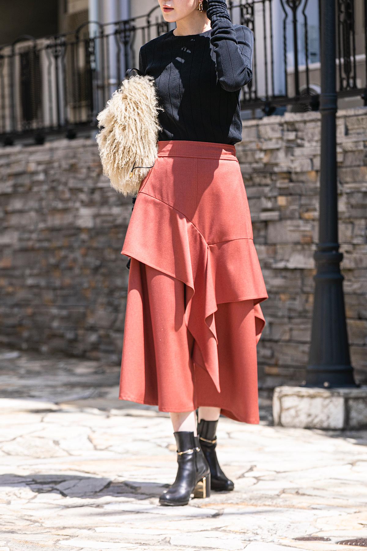 カラーフレアスカート 3色:スカーレット