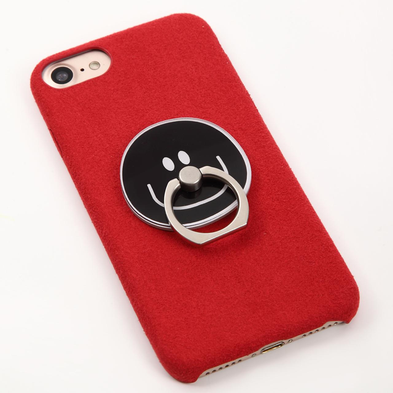 【即納★送料無料】レッドのソフトケース かわいいスマイル バンカーリング付 iPhoneケース