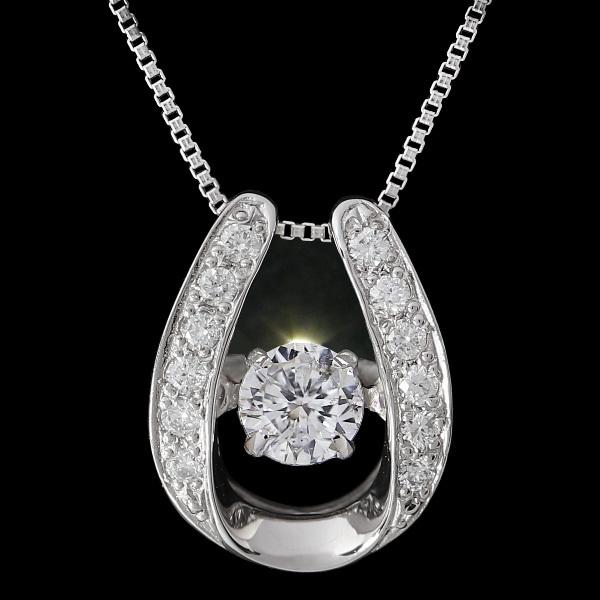 24cebfc9e6 ダンシングストーン ダイヤモンド ネックレス 鑑定書付 馬蹄(ホースシュー) 揺れるダイヤモンド ネックレス プラチナ Pt900