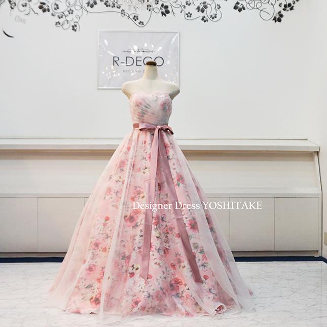 【オーダー制作】ウエディングドレス(Aラインパニエサービス) ピンク花柄に白いオーガンジー 披露宴/二次会 ※制作期間3週間から6週間