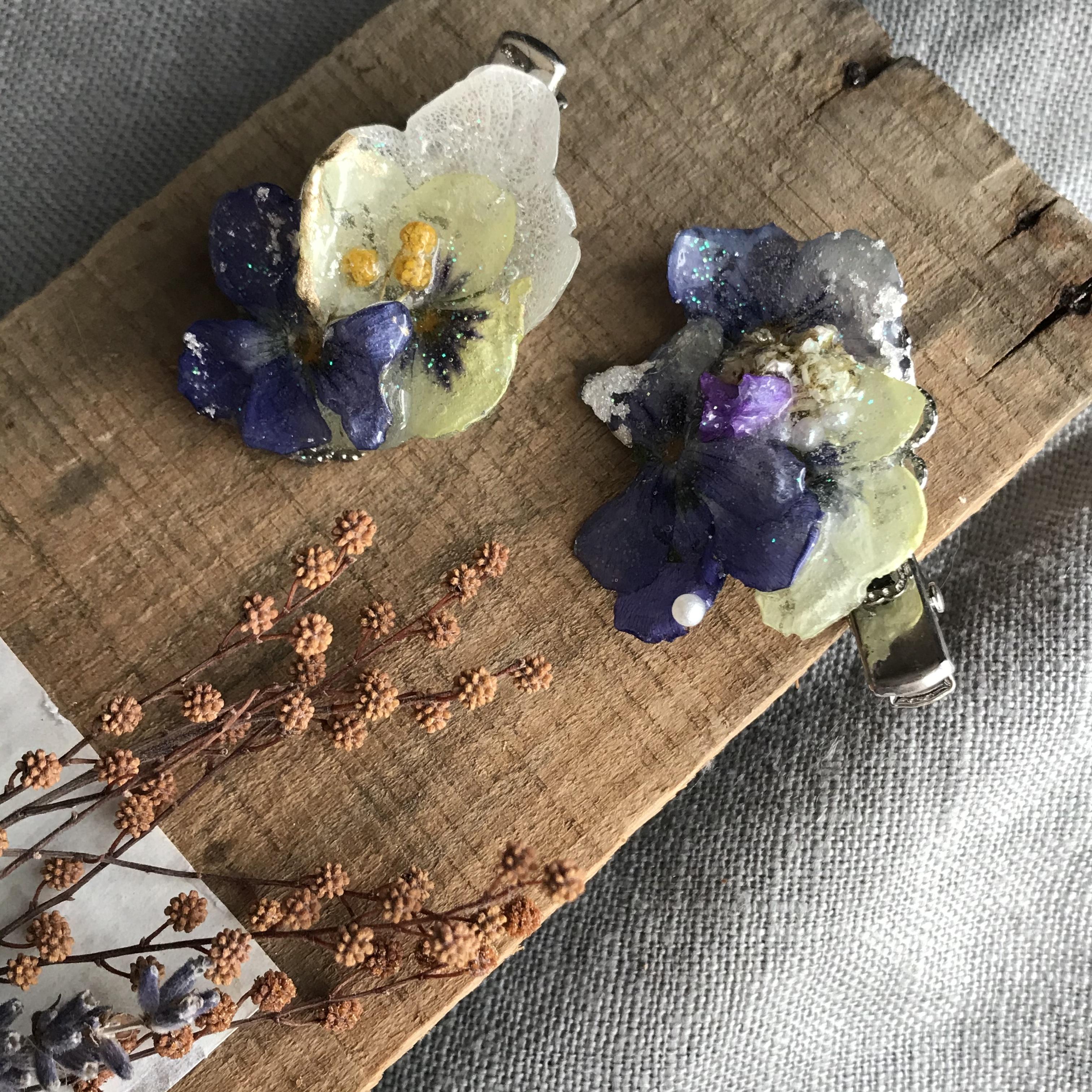 本物のお花❗️ミニクリップ*マスクゴム留め可能 ビオラ