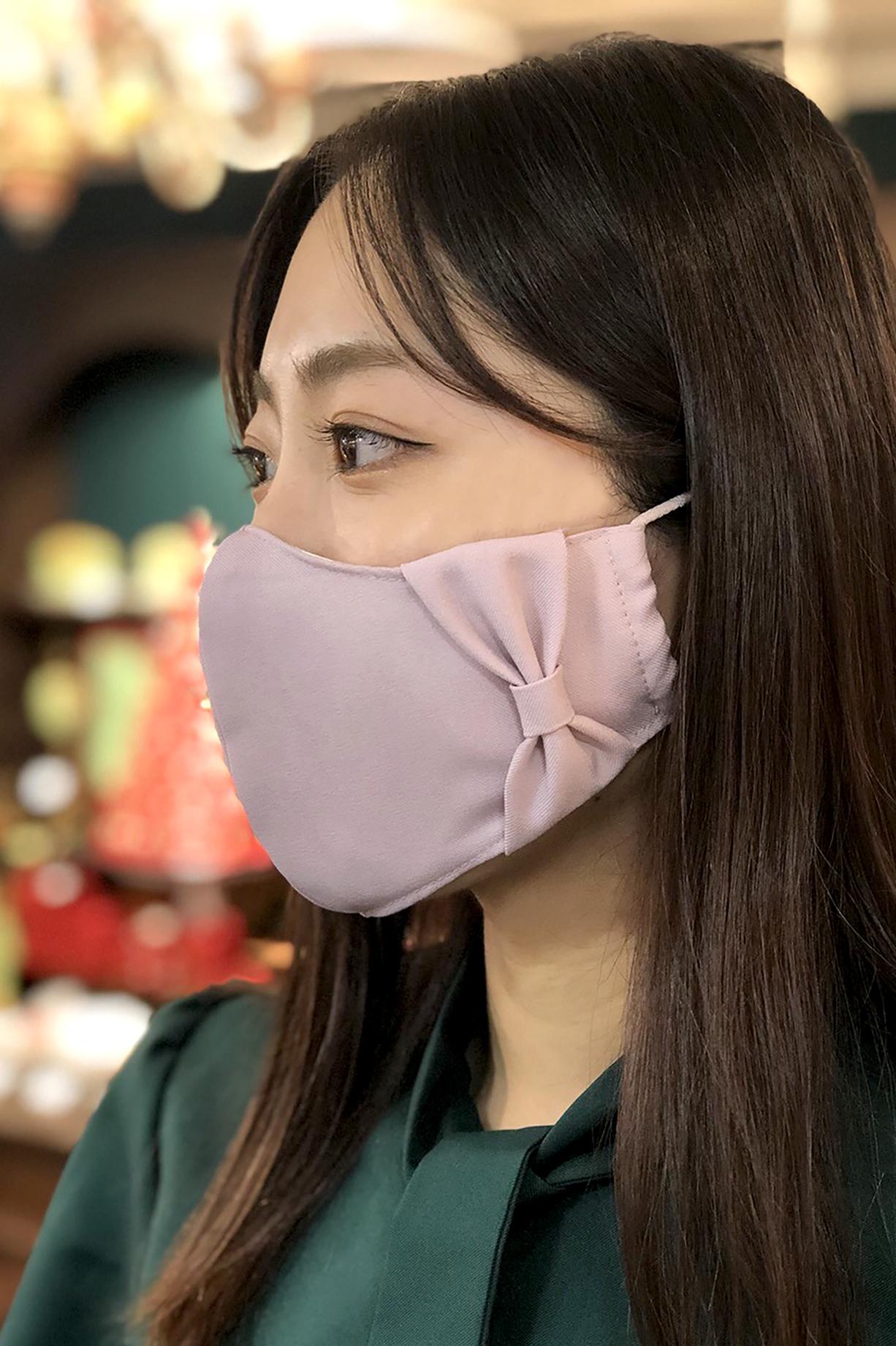 【横顔美人】立体リボンマスク/ダスティピンク